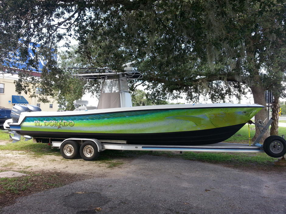 Dolphin fish boat bb graphics the wrap pros for Fishing boat wraps