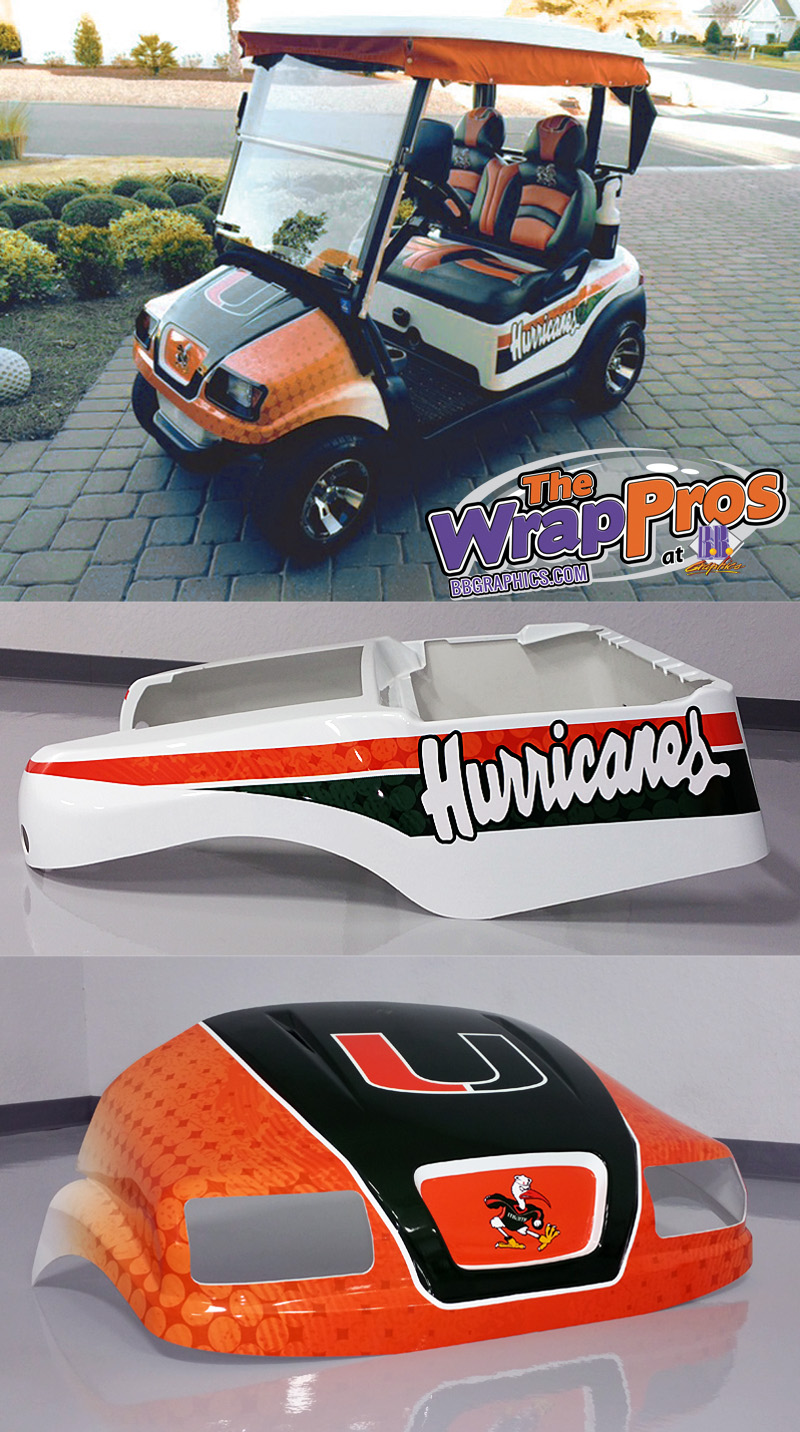 Miami Hurricanes Golf Cart Wrap Bb Graphics Amp The Wrap Pros