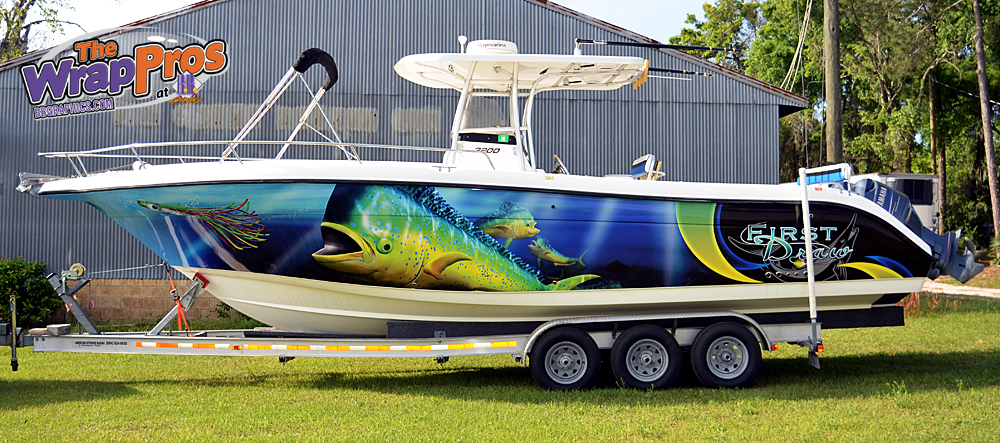 Fish boat wrap install bb graphics the wrap pros for Fishing boat wraps