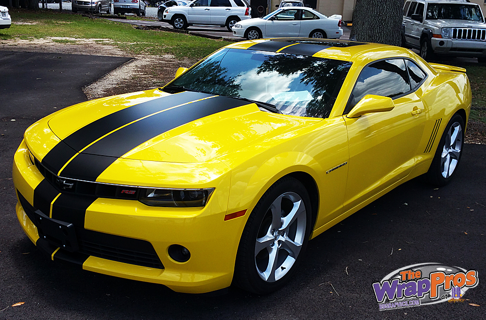Yellow Camaro – Black Stripes | BB Graphics & The Wrap Pros