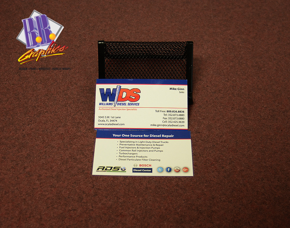 Williams Diesel Services Business Cards | BB Graphics & The Wrap Pros