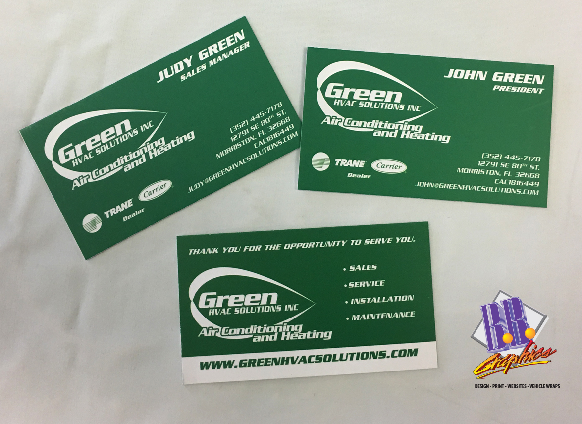 Green HVAC Business Cards | BB Graphics & The Wrap Pros