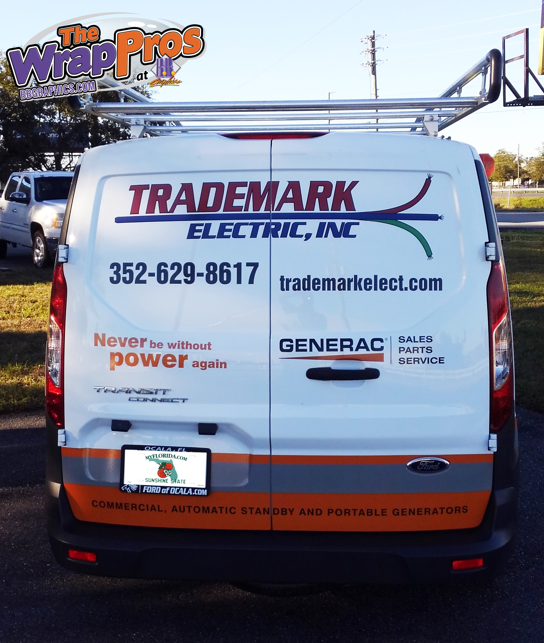 Trademark Electric Transit – Back | BB Graphics & The Wrap Pros