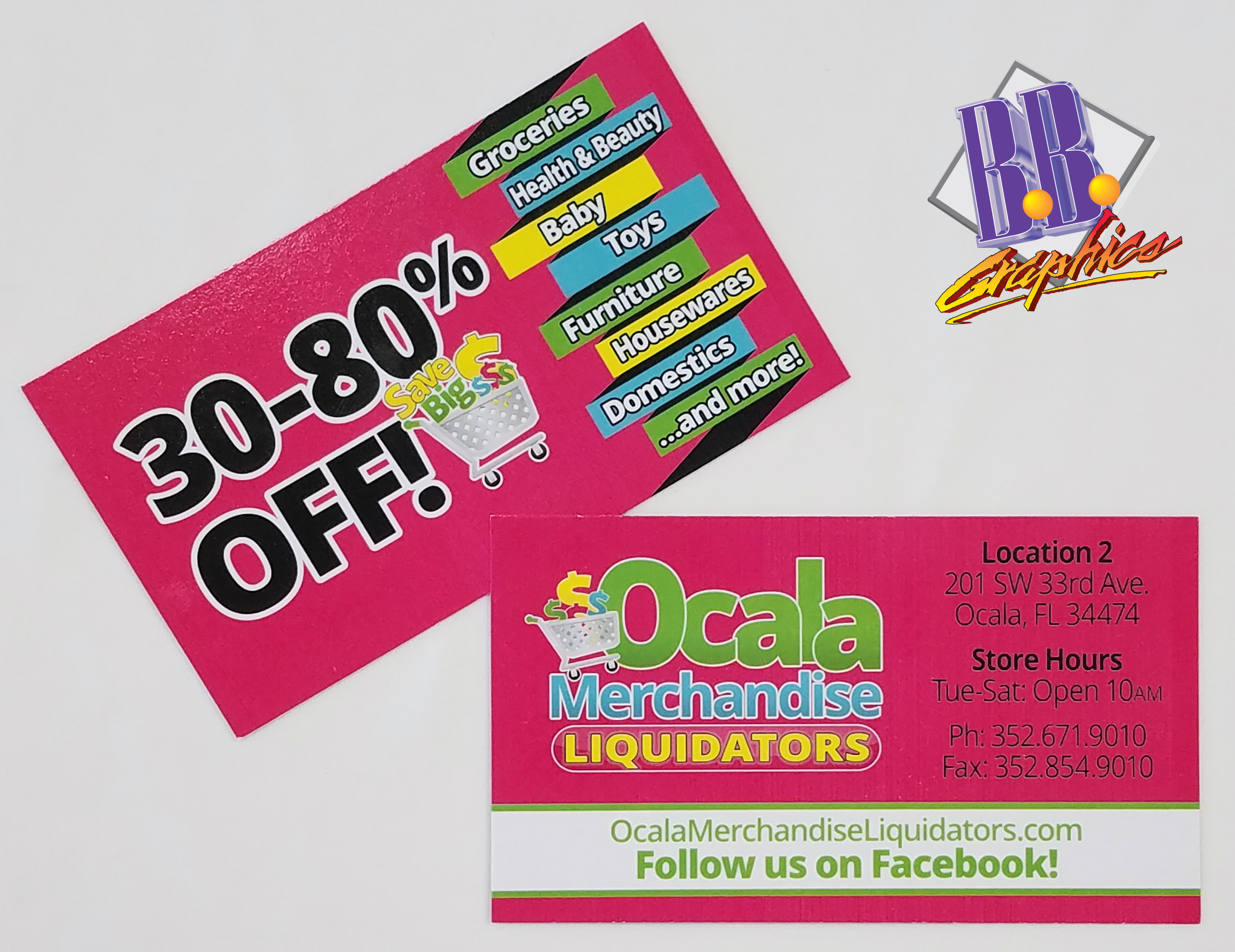 Ocala merchandise liquidator business cards bb graphics the wrap ocala merchandise liquidator business cards reheart Image collections