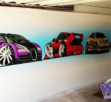 Cartoon Cars Garage Wall