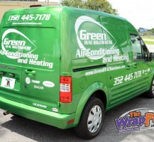 Green HVAC Van Back