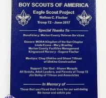 Eagle Scout Project Metal Plaque