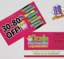 Ocala Merchandise Liquidator Business Cards