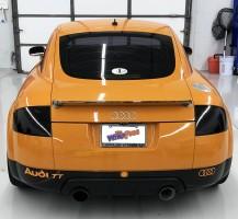 Audi Black Rims, Black Skirt, & Orange Lettering
